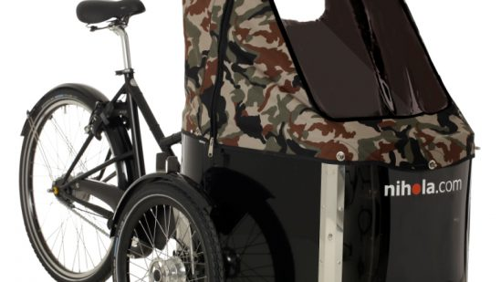 nihola-Family-cargo-bike-dark-army-hood1