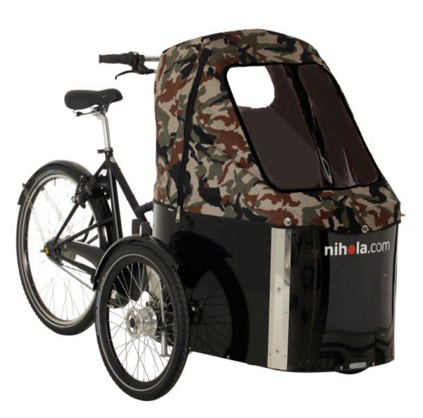 nihola-Family-cargo-bike-dark-army-hood1