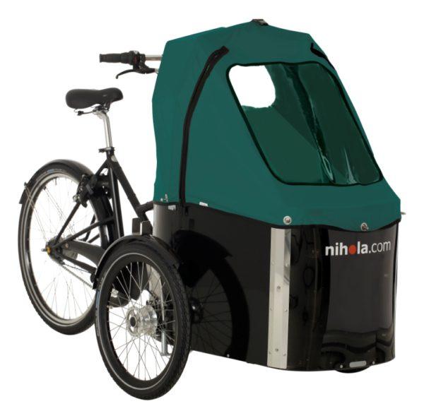 nihola-Family-cargo-bike-green-hood1