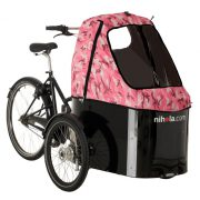 nihola-Family-cargo-bike-pink-army-hood1