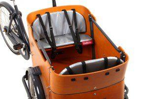 Cuscino panca cargo bike Babboe Curve – grigio, star, pois